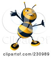 Royalty Free RF Clipart Illustration Of A 3d Bee Character Dancing 1 by Julos