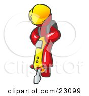 Clipart Illustration Of A Red Construction Worker Man Wearing A Hardhat And Operating A Yellow Jackhammer While Doing Road Work by Leo Blanchette