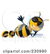 Royalty Free RF Clipart Illustration Of A 3d Bee Character Wearing Shades And Relaxing by Julos #COLLC230990-0108