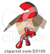 Clipart Illustration Of A Red Man Carrying A Heavy Question Mark In A Box by Leo Blanchette