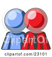 Clipart Illustration Of A Blue Person Standing Beside A Red Businessman Symbolizing Teamwork Or Mentoring