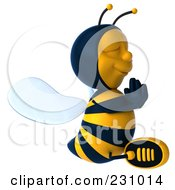 Royalty Free RF Clipart Illustration Of A 3d Bee Character Meditating 2