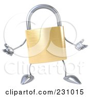 Royalty Free RF Clipart Illustration Of A 3d Padlock Character Gesturing 2 by Julos