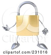 Royalty Free RF Clipart Illustration Of A 3d Padlock Character Gesturing 1 by Julos