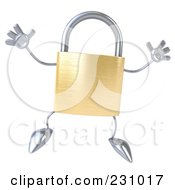 Royalty Free RF Clipart Illustration Of A 3d Padlock Character Jumping by Julos