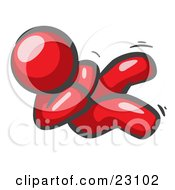Clipart Illustration Of A Happy Red Man Rolling On The Floor And Giggling With Laughter