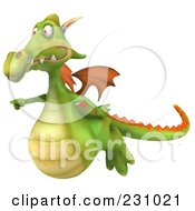 Royalty Free RF Clipart Illustration Of A 3d Dragon Flying And Pointing Left