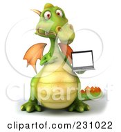 Royalty Free RF Clipart Illustration Of A 3d Dragon Holding A Laptop 2 by Julos