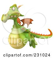 Royalty Free RF Clipart Illustration Of A 3d Dragon Flying Left