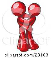 Clipart Illustration Of A Red Man Gently Embracing His Lover Symbolizing Marriage And Commitment by Leo Blanchette
