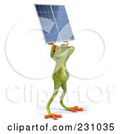 Royalty Free RF Clipart Illustration Of A 3d Springer Frog Holding A Solar Panel 1