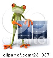 Royalty Free RF Clipart Illustration Of A 3d Springer Frog Holding A Solar Panel 3