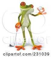 Royalty Free RF Clipart Illustration Of A 3d Springer Frog Golfer 2