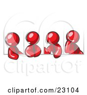 Clipart Illustration Of Four Different Red Men Wearing Headsets And Having A Discussion During A Phone Meeting