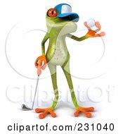 Royalty Free RF Clipart Illustration Of A 3d Springer Frog Golfer 1