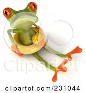 Royalty Free RF Clipart Illustration Of A 3d Springer Frog Sitting With A Duck Inner Tube