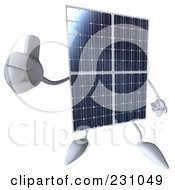 Royalty Free RF Clipart Illustration Of A 3d Solar Panel Character Holding A Thumb Up by Julos