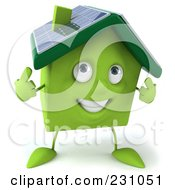 Royalty Free RF Clipart Illustration Of A 3d Green Clay Home With Solar Panels On The Roof 2