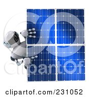 Royalty Free RF Clipart Illustration Of A 3d Techno Robot Holding A Solar Panel 1