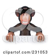 Royalty Free RF Clipart Illustration Of A 3d Chimp Character Wearing Shades And Holding A Blank Sign 1