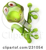 Royalty Free RF Clipart Illustration Of A 3d Green Lizard With A Blank Sign 6 by Julos