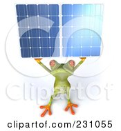 Royalty Free RF Clipart Illustration Of A 3d Springer Frog Holding A Solar Panel 2