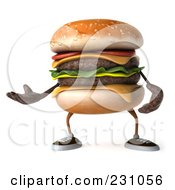 Royalty Free RF Clipart Illustration Of A 3d Hamburger Character Gesturing by Julos