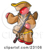 Clipart Illustration Of A Red Man In Hunting Gear Carrying A Rifle