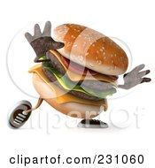 Royalty Free RF Clipart Illustration Of A 3d Hamburger Character Walking by Julos