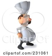 Royalty Free RF Clipart Illustration Of A 3d Chef Man Facing Right With His Hands On His Hips by Julos