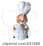 Royalty Free RF Clipart Illustration Of A 3d Chef Man Looking Up With His Hands On His Hips by Julos