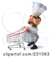 Royalty Free RF Clipart Illustration Of A 3d Chef Man Pushing A Shopping Cart To The Left by Julos