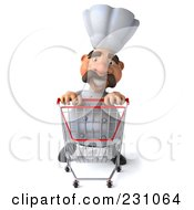 Royalty Free RF Clipart Illustration Of A 3d Chef Man Pushing A Shopping Cart Forward