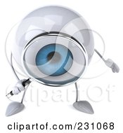 Royalty Free RF Clipart Illustration Of A 3d Blue Eyeball Character Using A Magnifying Glass