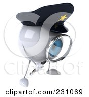 Royalty Free RF Clipart Illustration Of A 3d Blue Police Eyeball Character Using A Magnifying Glass 3