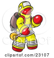 Red Fireman In A Uniform Fighting A Fire