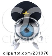 Royalty Free RF Clipart Illustration Of A 3d Blue Police Eyeball Character Using A Magnifying Glass 4