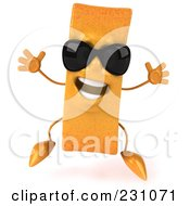 Royalty Free RF Clipart Illustration Of A 3d Frite French Fry Character Wearing Shades And Jumping by Julos