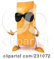 Royalty Free RF Clipart Illustration Of A 3d Frite French Fry Character Wearing Shades And Gesturing by Julos