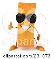 Royalty Free RF Clip Art Illustration Of A 3d Frite French Fry Character Wearing Shades And Holding A Thumb Up by Julos