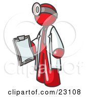 Clipart Illustration Of A Red Male Doctor Holding A Clipboard And Wearing A Head Lamp