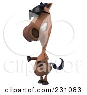 Royalty Free RF Clipart Illustration Of A 3d Charlie Horse Character Wearing Sunglasses And Gesturing by Julos