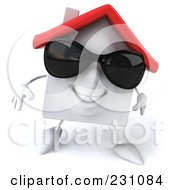 3d White Clay Home Wearing Shades And Walking