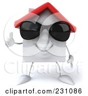 3d White Clay Home Wearing Shades And Giving The Thumbs Up