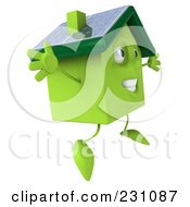 Royalty Free RF Clipart Illustration Of A 3d Green Clay Home With Solar Panels On The Roof 4