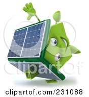 Royalty Free RF Clipart Illustration Of A 3d Green Clay Home With Solar Panels On The Roof 3