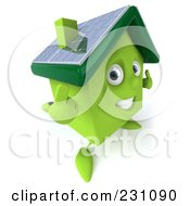 Royalty Free RF Clipart Illustration Of A 3d Green Clay Home With Solar Panels On The Roof 1