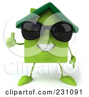 3d Green Clay Home Holding His Thumb Up And Wearing Shades