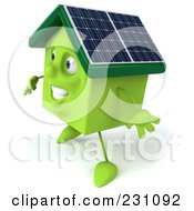 Royalty Free RF Clipart Illustration Of A 3d Green Clay Home With Solar Panels On The Roof 5