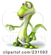 Royalty Free RF Clipart Illustration Of A 3d Green Lizard Pointing Left by Julos